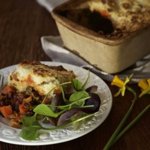 Red Dragon Pie - a delicious savoury bean stew topped with potato this is the best vegan shepherd's pie