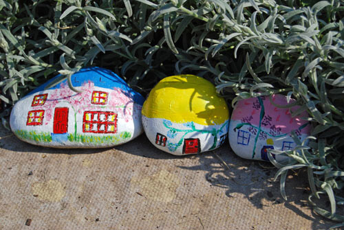 Three Fairy Houses tucked away in some lavender.