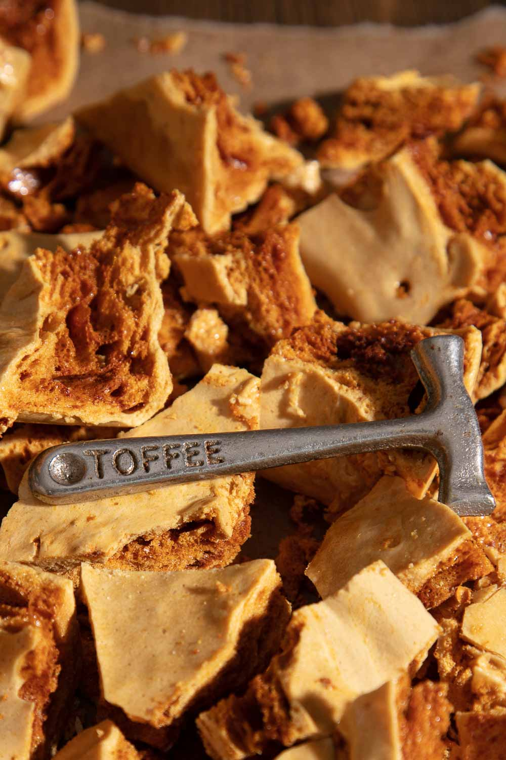 Cinder Toffee with vintage metal toffee hammer.