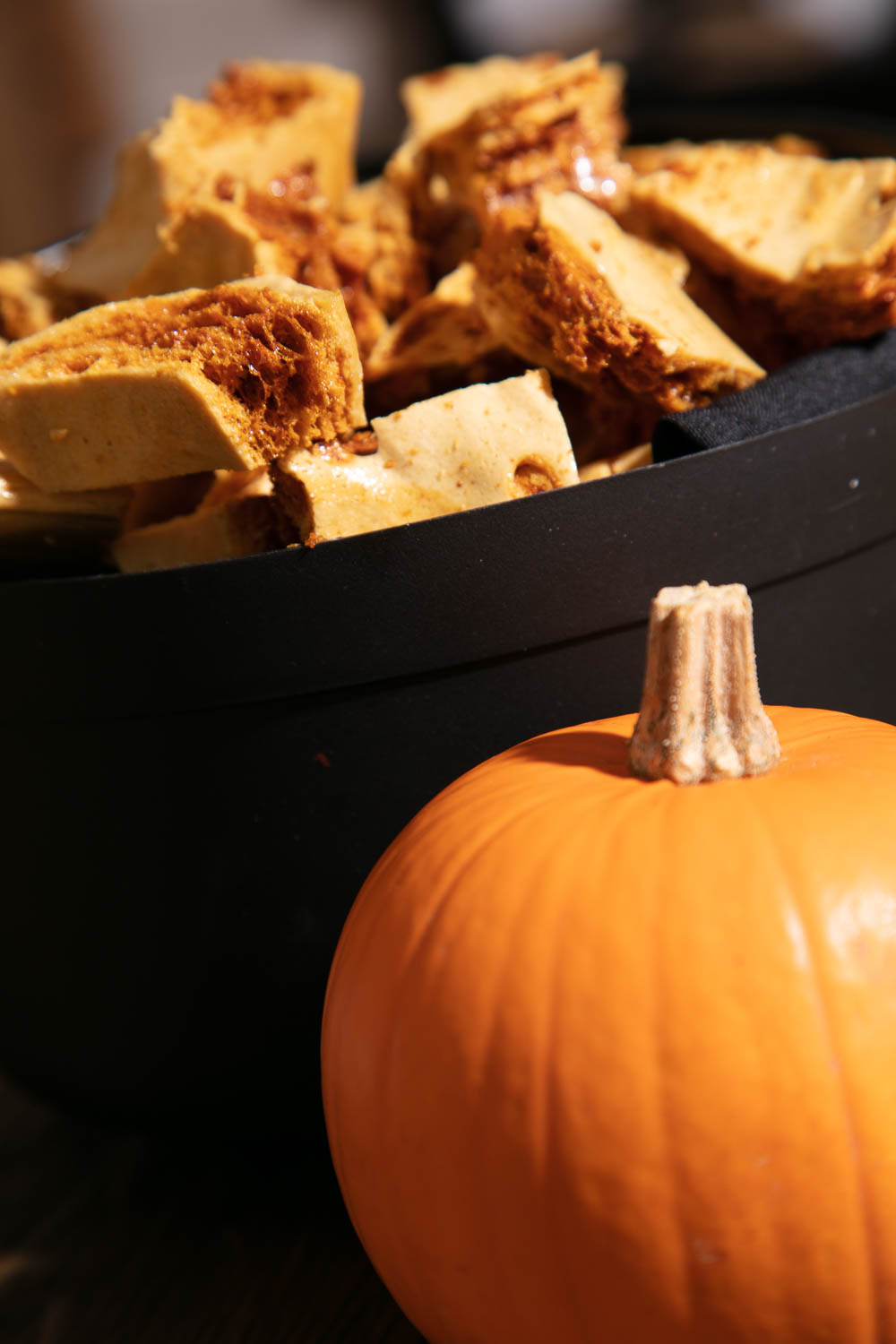Honeycomb in a cauldron behind a pumpkin.