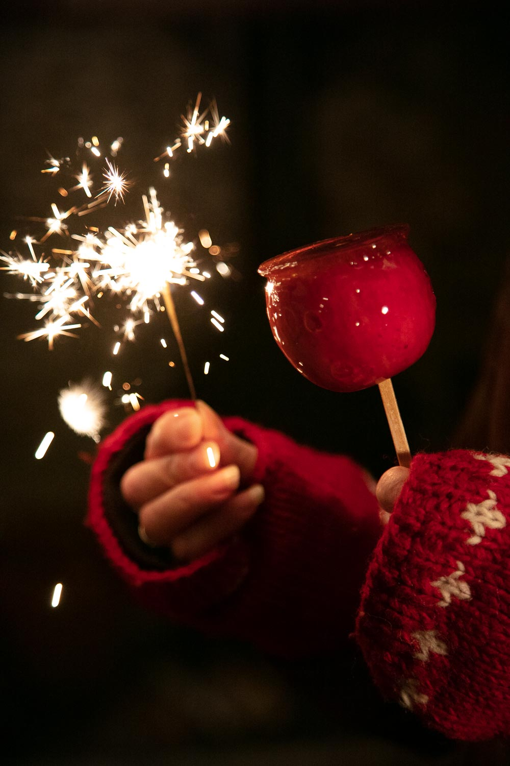 Toffee Apple and Sparkler.