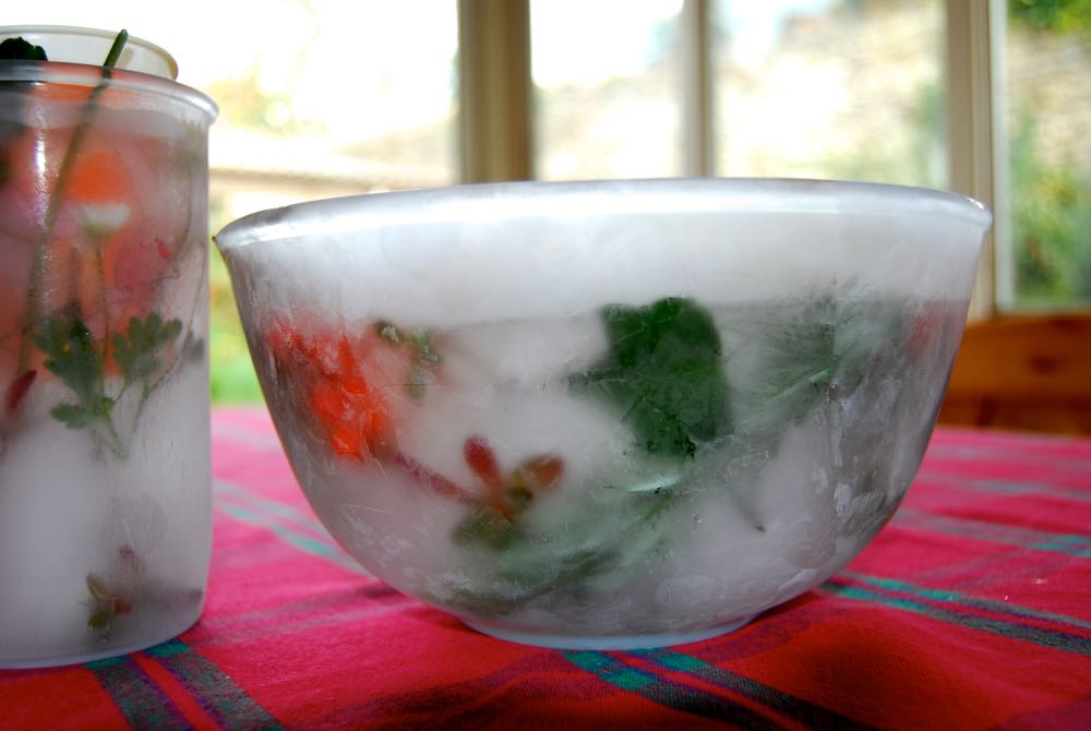 The bowl and jug filled with ice after being left in the freezer.