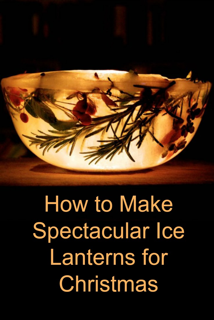 Ice lantern with embedded plants from the garden.
