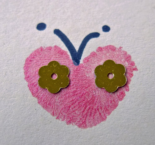 Valentine's Craft, fingerprint butterflies
