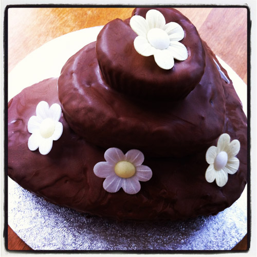 Valentine's chocolate heart cake with edible paper flowers.