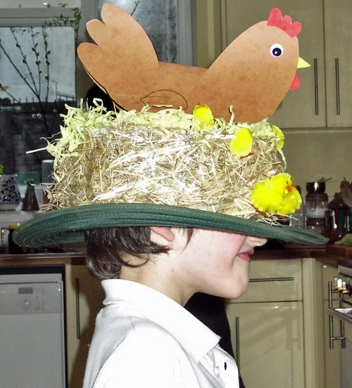 Chicken's nest easter bonnet being worn too far down over the eyes.