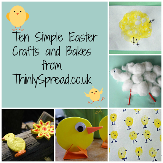 Collage of simple easter crafts by thinly spread.