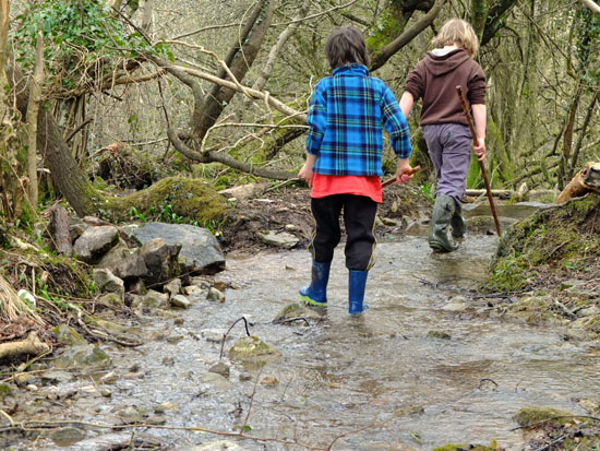 Kids holding sticks walking up a shallow stream.