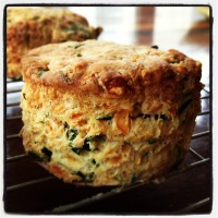 Wild garlic and cheese scones cooling on a wire rack.