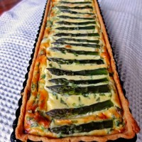 Asparagus Quiche in a rectangular tart tray.