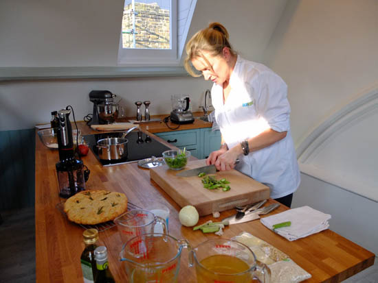 Rachel Allen's Rosemary Focaccia bread cooling while she makes stock for a baked risotto.