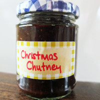 Christmas chutney in a jar.