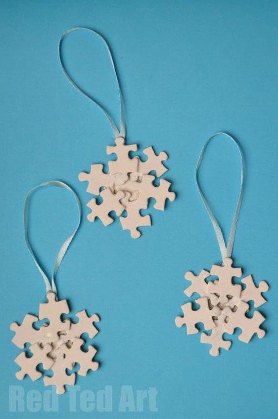 puzzle craft ideas, snowflake craft