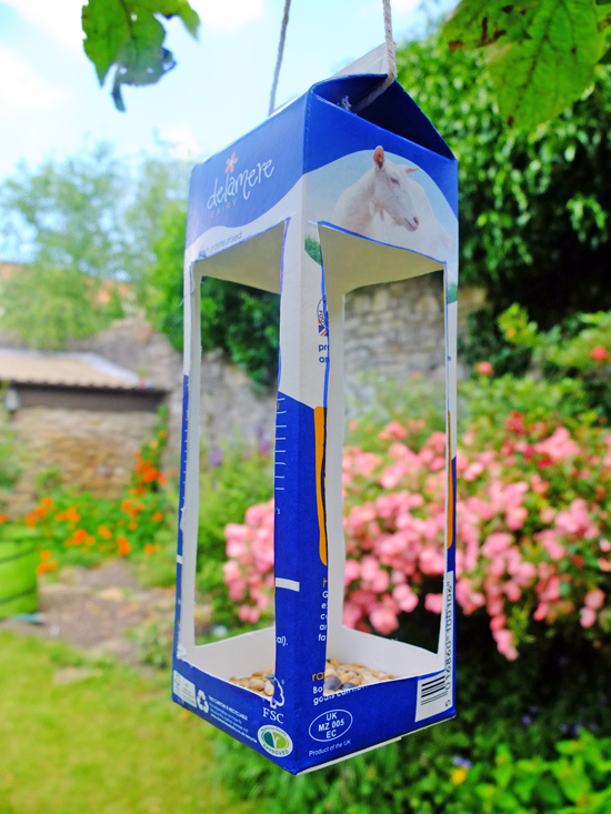 milk carton birdfeeder, tetra pak crafts