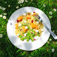 Couscous salad in the shade of a tree.
