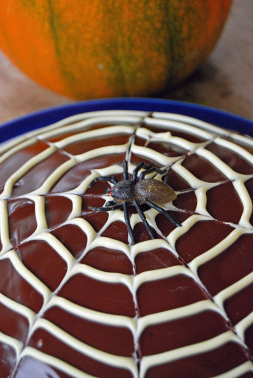 Chocolate cake with cobweb icing, with a toy spider in the middle and a pumpkin in the background.