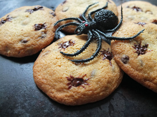Halloween Spider Biscuits with a decorative rubber spider.