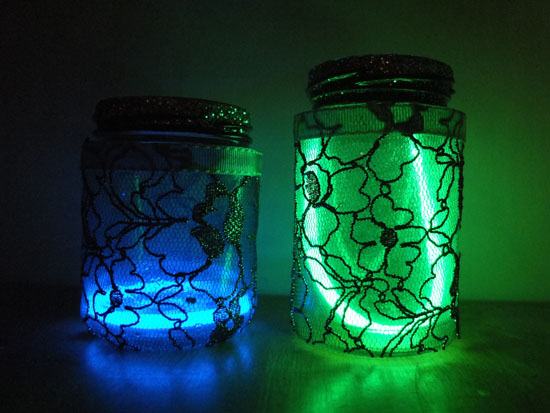 mason jar lanterns, glow stick lanterns, lanterns for small children
