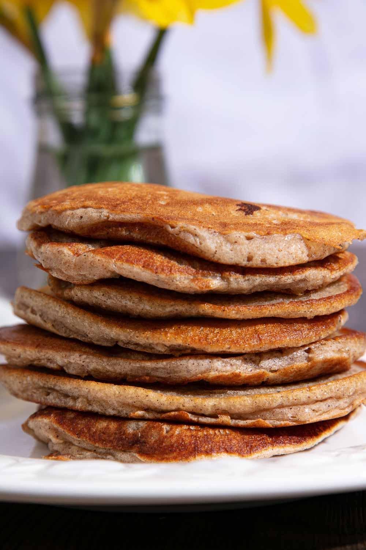 A stack of vegan banana pancakes.