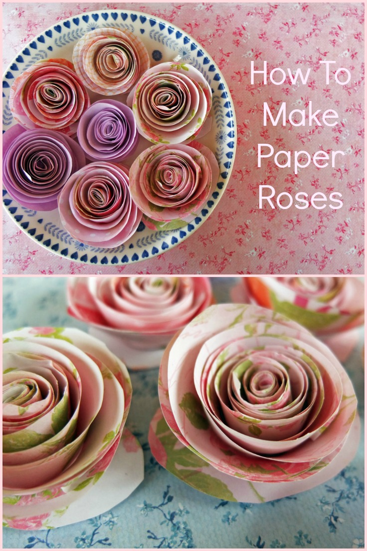 Small collage of finished paper roses.