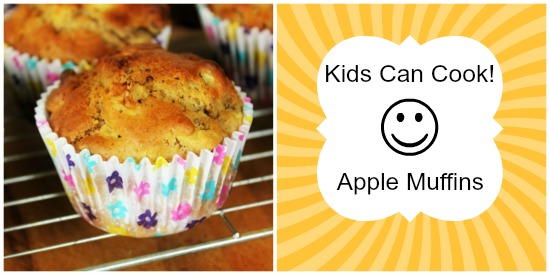 Kids Can Cook logo with apple muffins.