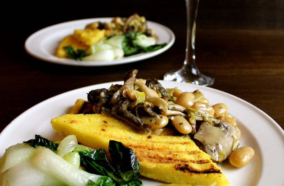 Wild Mushrooms and Butterbeans in creamy vegan sauce served on griddles polenta.
