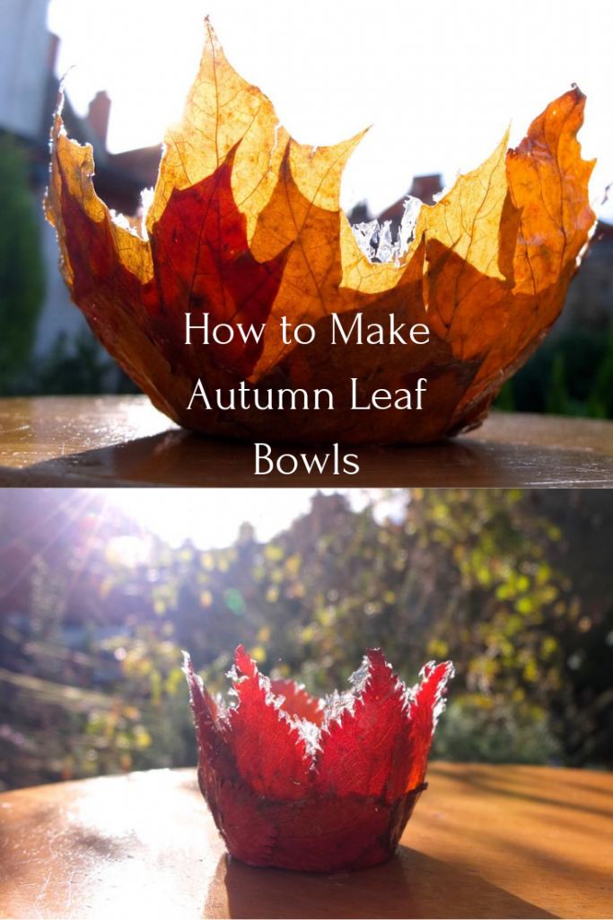 Two homemade autumn leaf bowls illustrating this easy autumn craft.