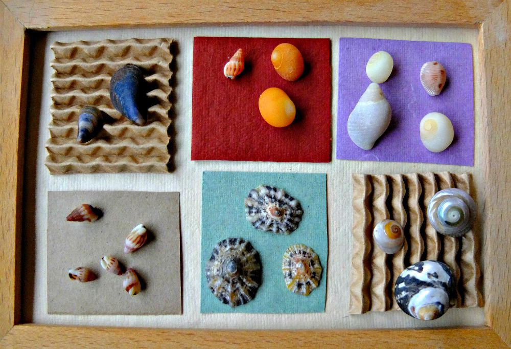seashell crafts, seashell collage, memory boxes, beach crafts