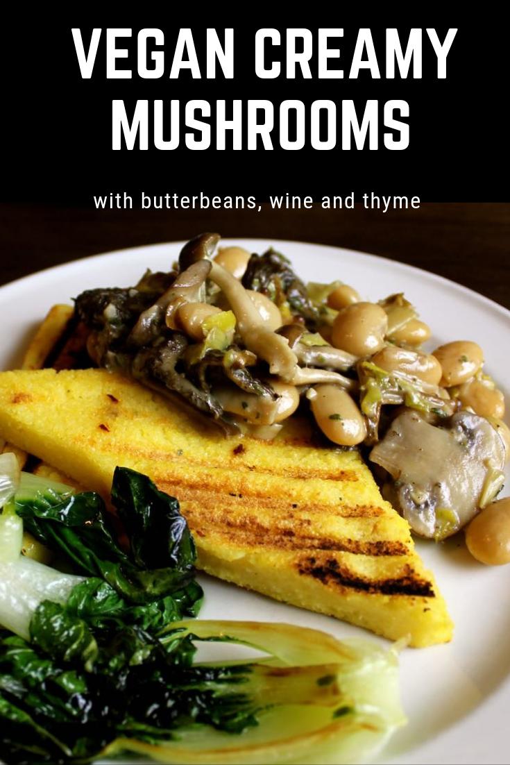 Vegan Creamy Mushrooms with Polenta Bruschetta.