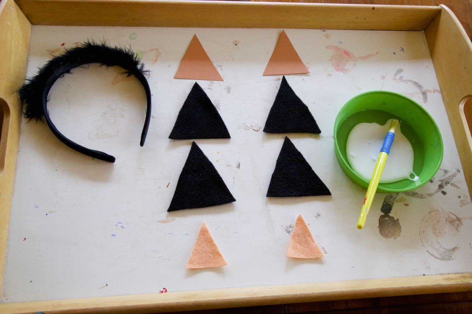 Halloween Cat Ear components ready to be assembled.