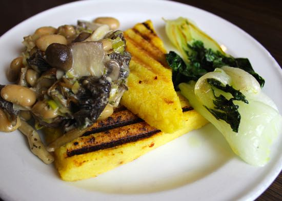 Polenta with Creamy Wild Mushrooms, Wine & Thyme - thinlyspread.co.uk