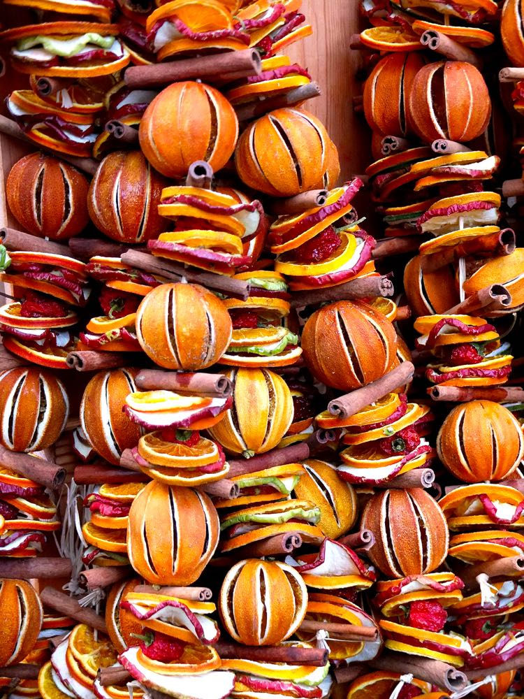 Decorations made with dried oranges and cinnamon sticks at the Bath Christmas market.