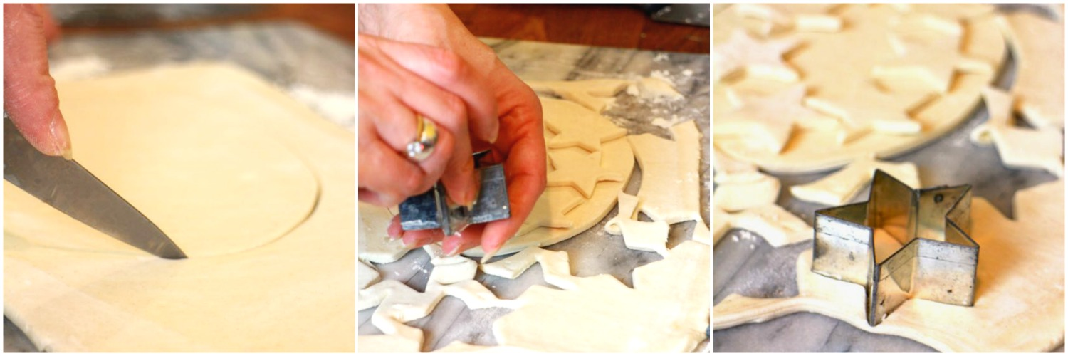 Collage of pastry cutting to make the pie and star shapes.