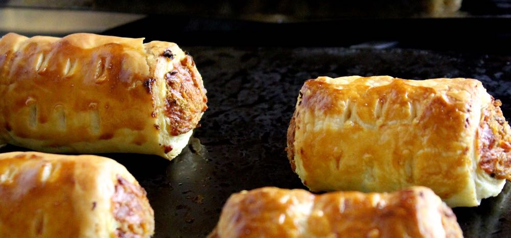 Vegetarian Sausage Rolls on a tray.