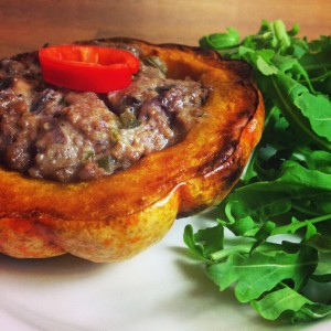 Walnut and stilton stuffed roast pumpkin.