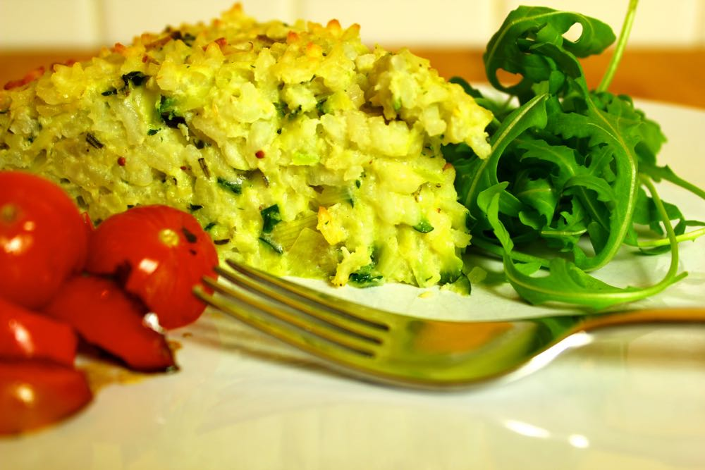 Courgette, Leek and Herb Risotto Cake