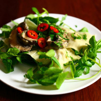 Vegan Ravioli filled with parsnips and porcini mushrooms