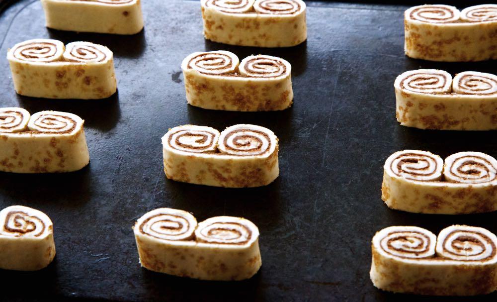 In-progress Vegan Nutella Palmiers on a baking tray.