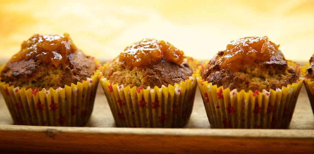 Marmalade and Bran Breakfast Muffins in paper cases.