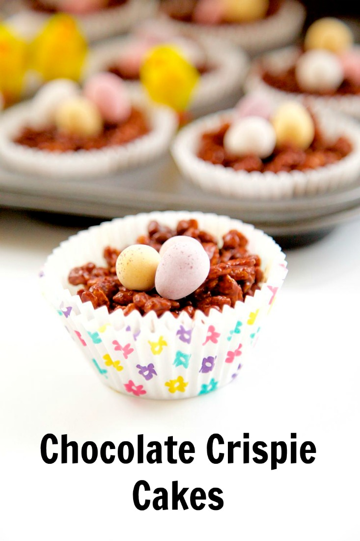 Chocolate Crispie Cakes, Easy Easter Make - pop some mini eggs on top and surround with Easter chicks!
