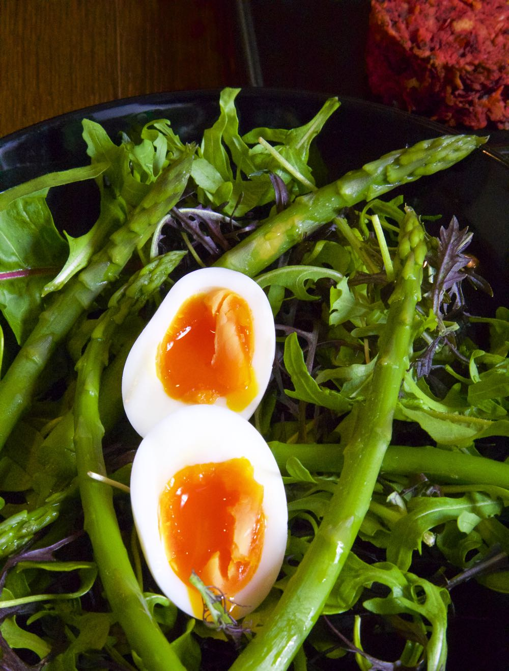 Spring Asparagus Salad with Soft Boiled Eggs and Beetroot Burgers.