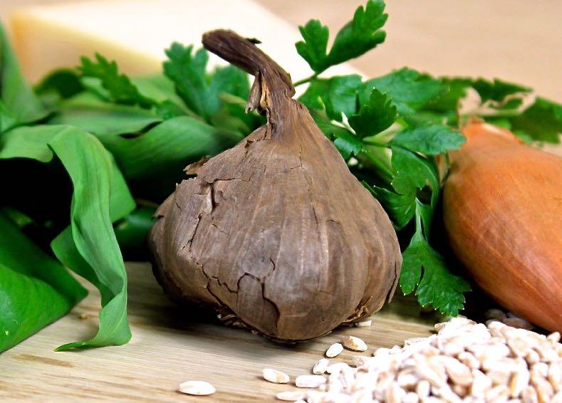 Wild Garlic Spelt Risotto with Black Garlic Sauce