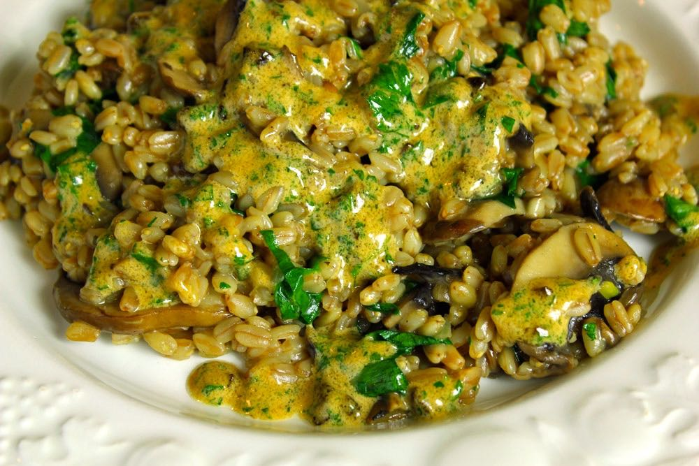 Spelt risotto with garlic sauce and mushrooms.