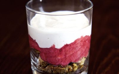 Vegan Ginger Cookies in a Rhubarb Parfait