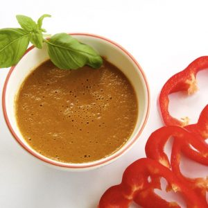 Roasted Red Pepper and Wild Garlic Soup.