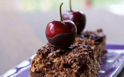 Chocolate Flapjack with Cherries
