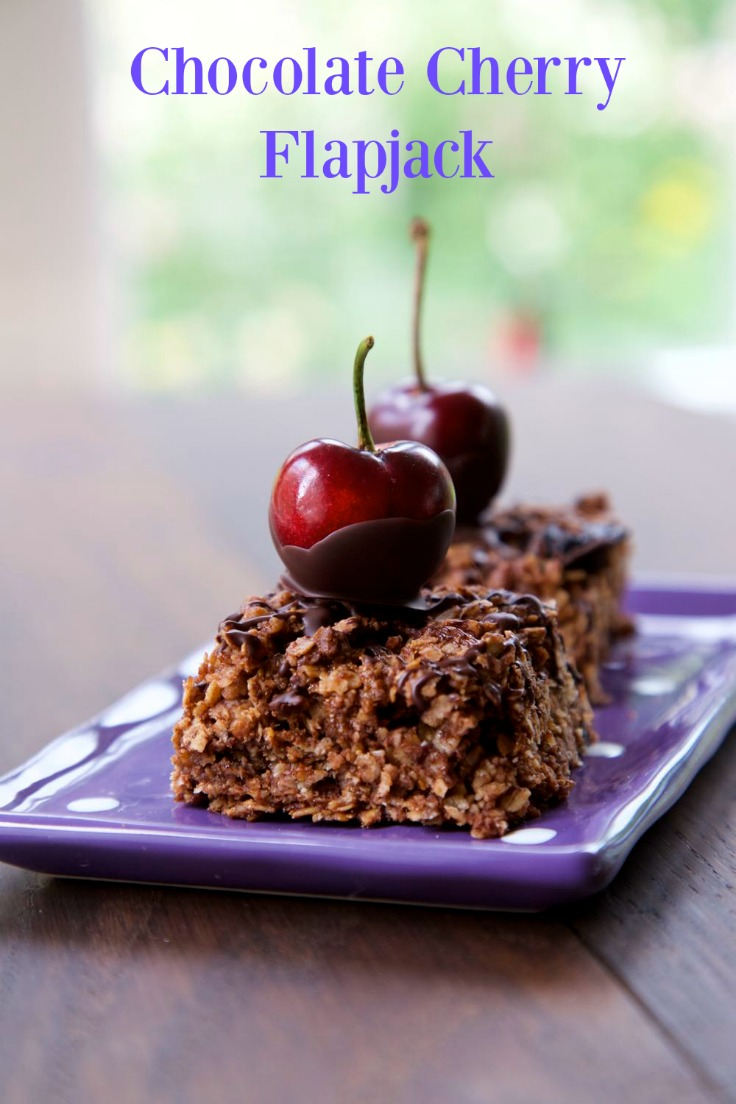 Chocolate Cherry Flapjack - rich and delicious flapjack for grown ups! thinlyspread.co.uk