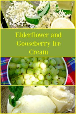 Elderflower and Gooseberry Ice Cream - a perfect combination of sweet, homemade elderflower cordial and tart gooseberries