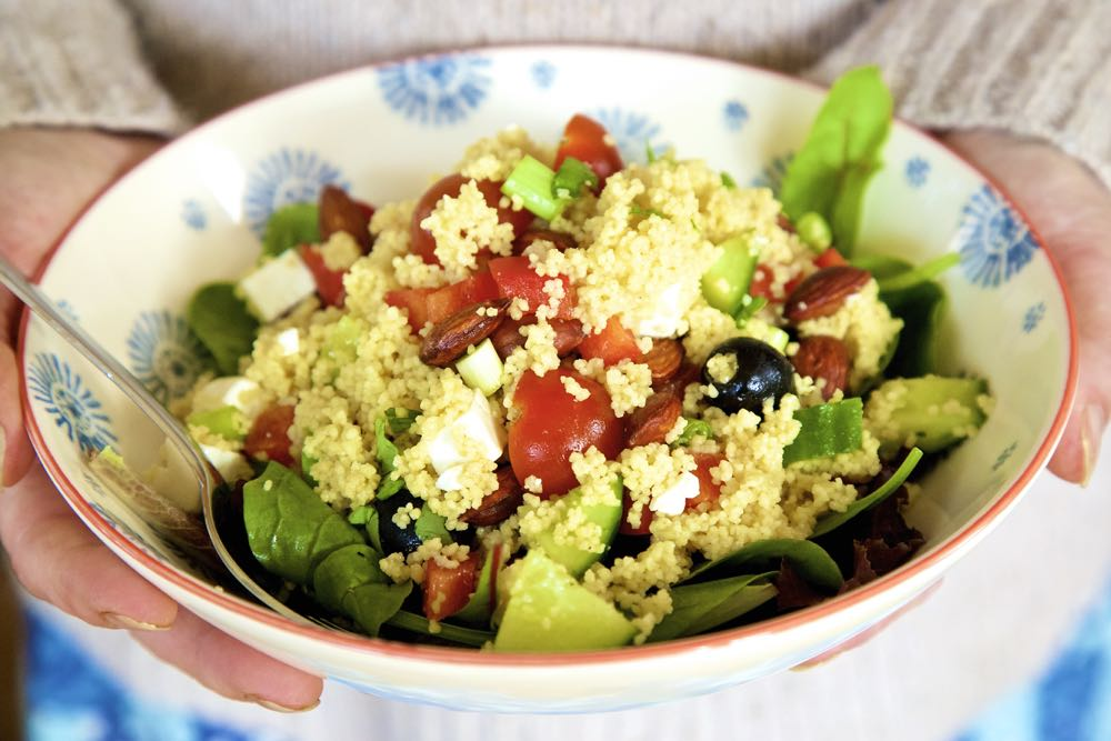 Greek Salad CousCous - all the flavours of summer in one delicious dish! thinlyspread.co.uk
