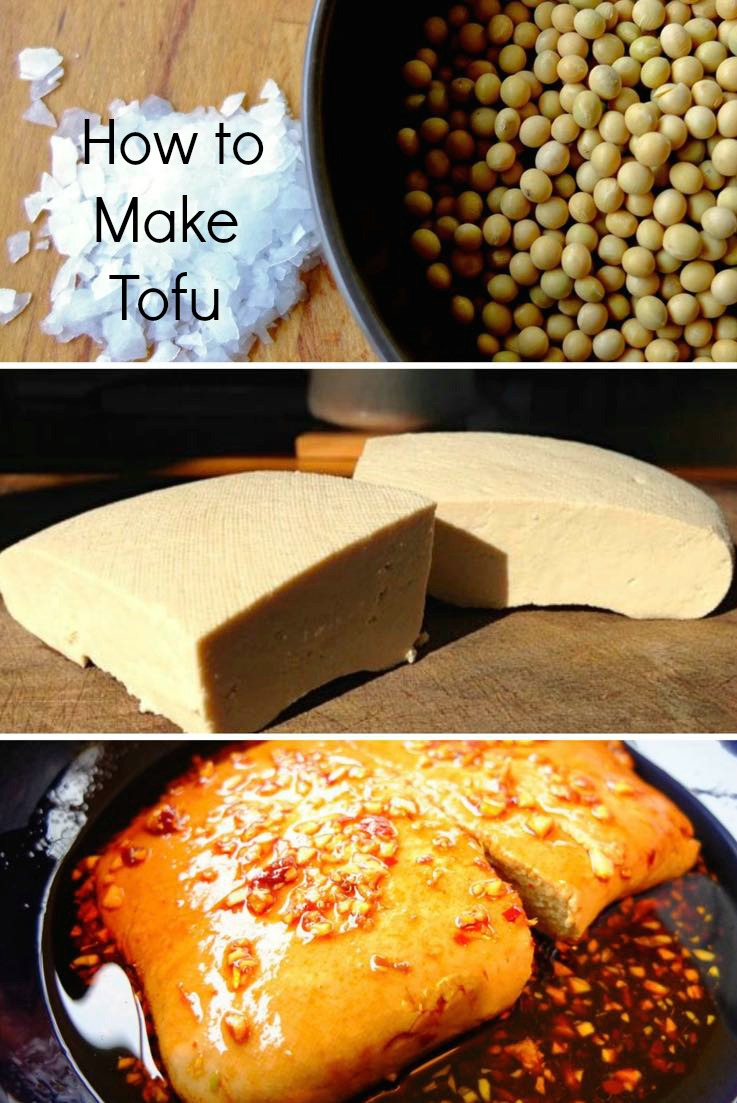 Steps to making and cooking tofu.